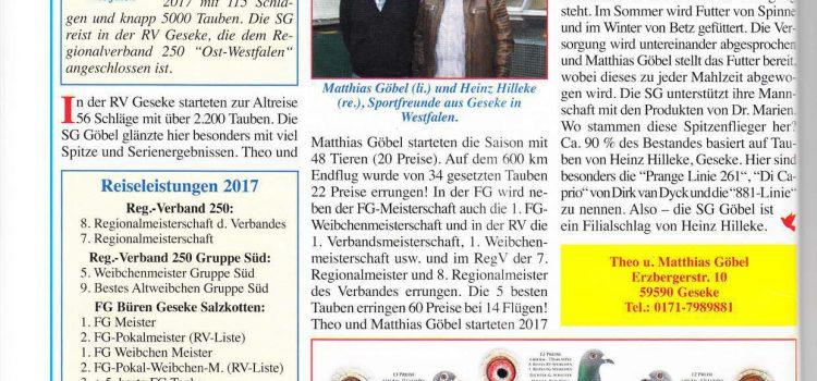 Veröffentlichung Taubenmarkt 12/2017 Theo & Matthias Göbel und Heinz Hilleke